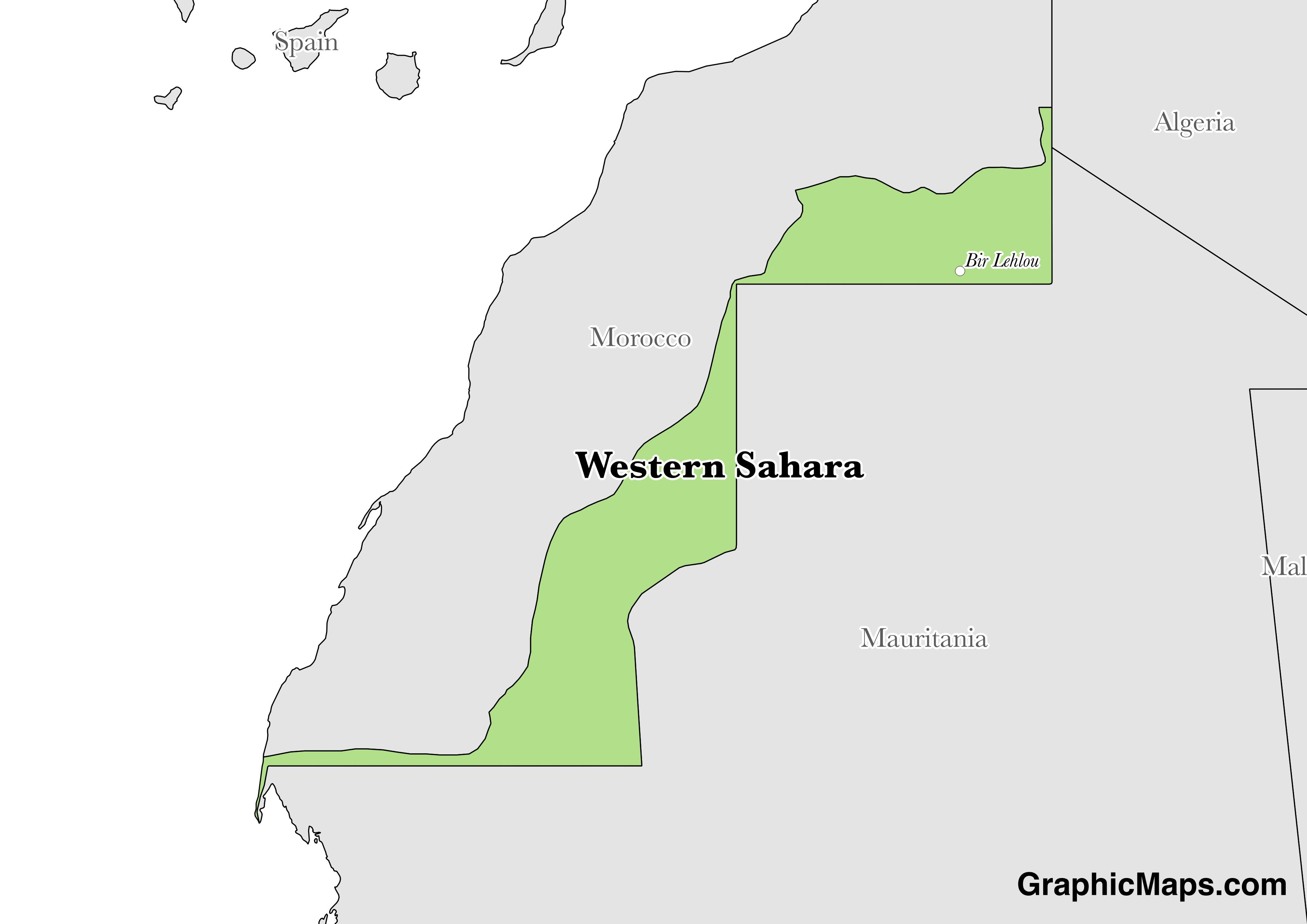 Map showing the location of Western Sahara