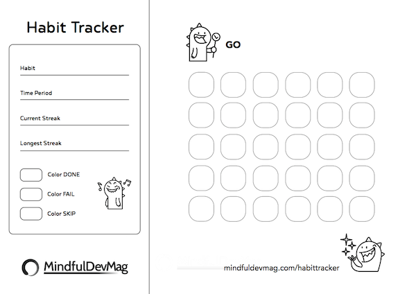 printable habit tracker monster design black and white version