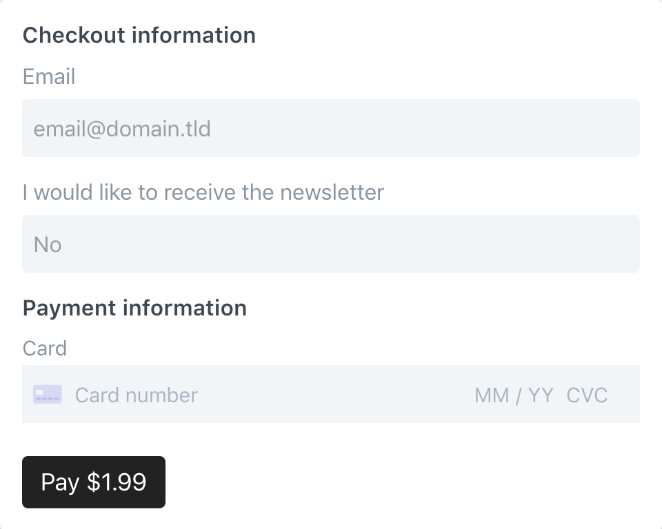 Simple payment form