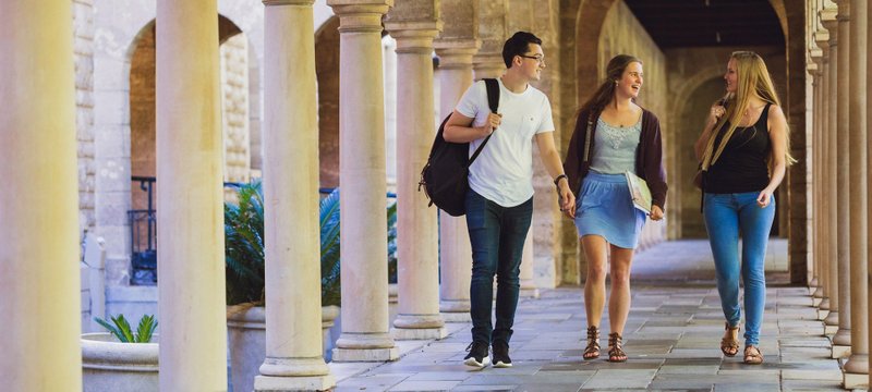 Students walking on the campus of the University of Western Australia
