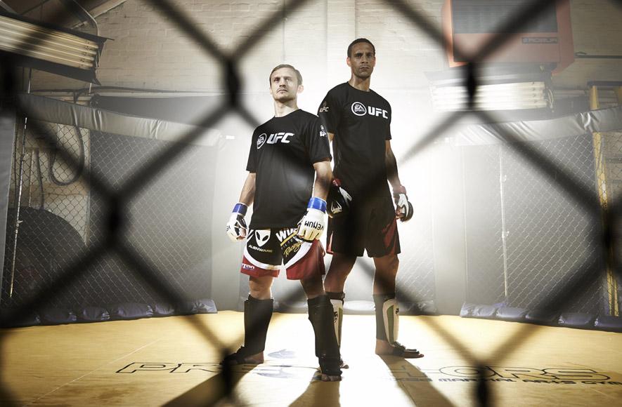 Rio Ferdinand and Brad Pickett in the cage