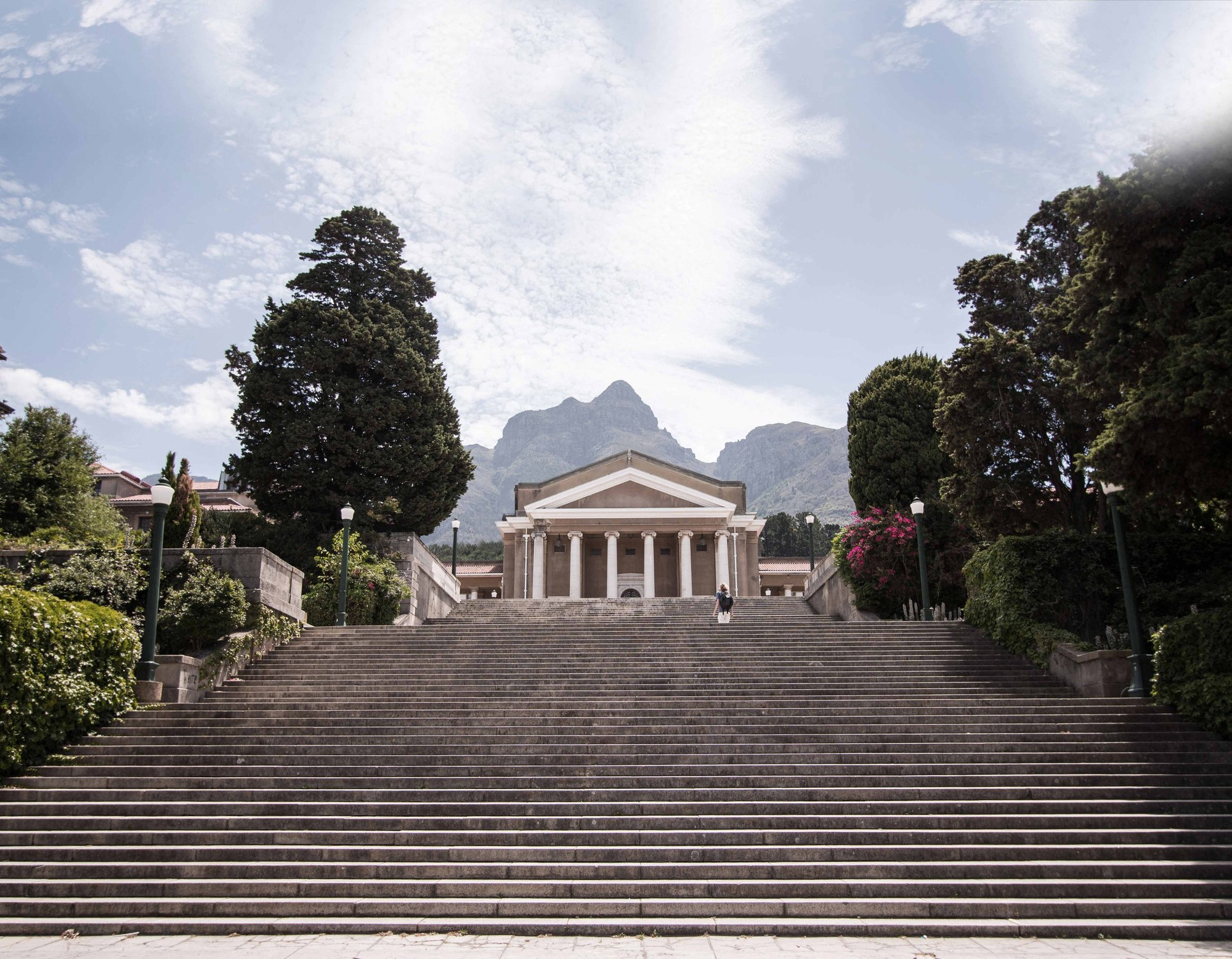 Stairs leading to Memorial Plaza and Sarah Baartman Hall at Cape Town University