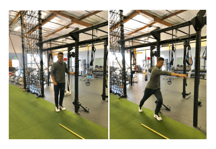 image of standing step-through exercise