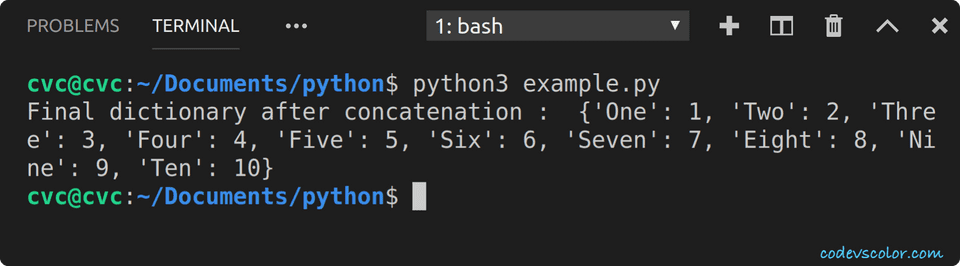 python concatenate two dictionaries