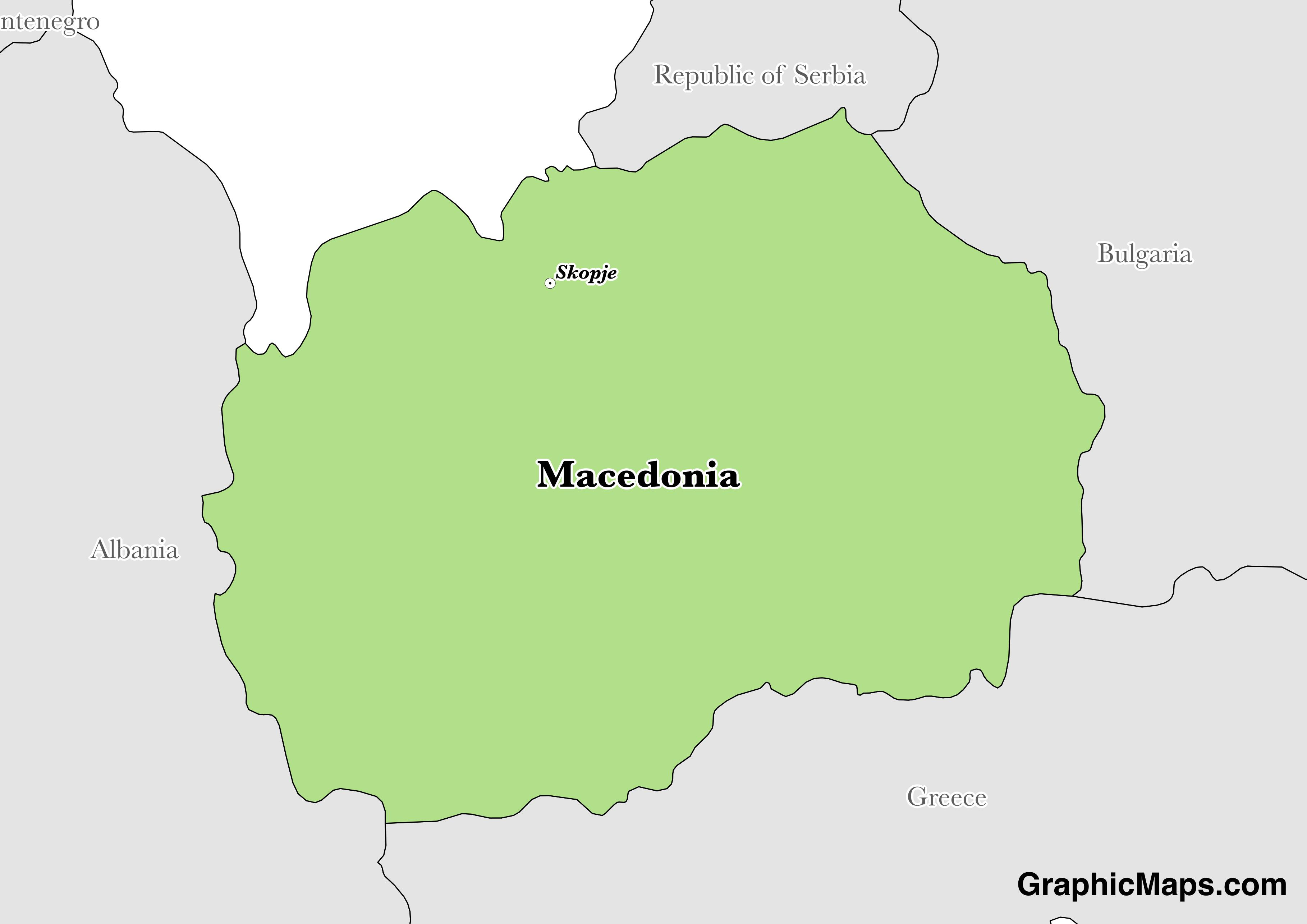 Map showing the location of Macedonia