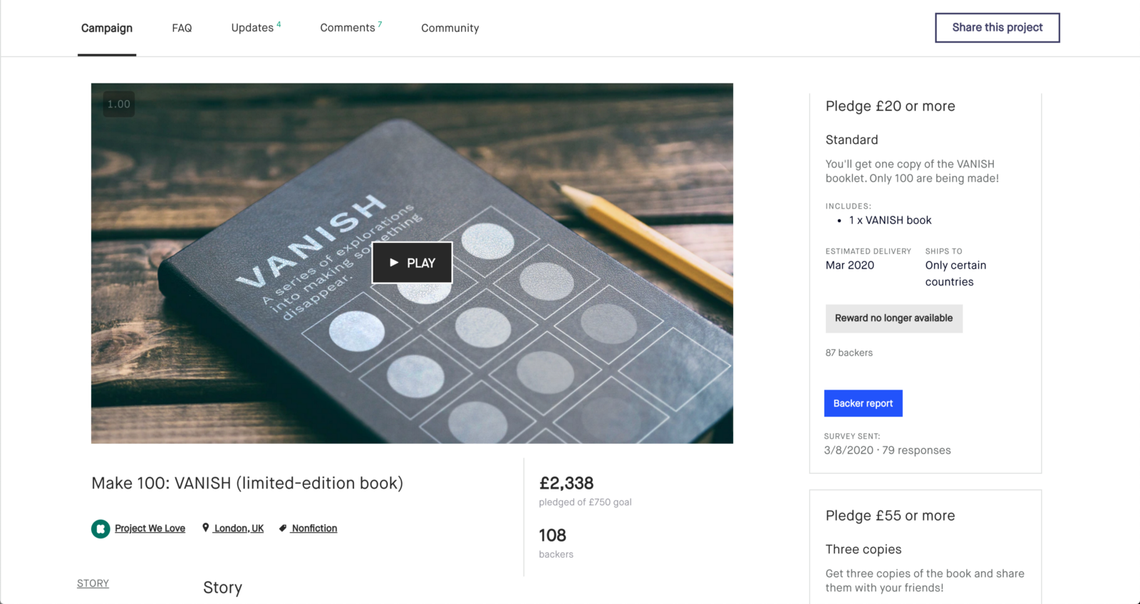 A screenshot of the Kickstarter page for the project
