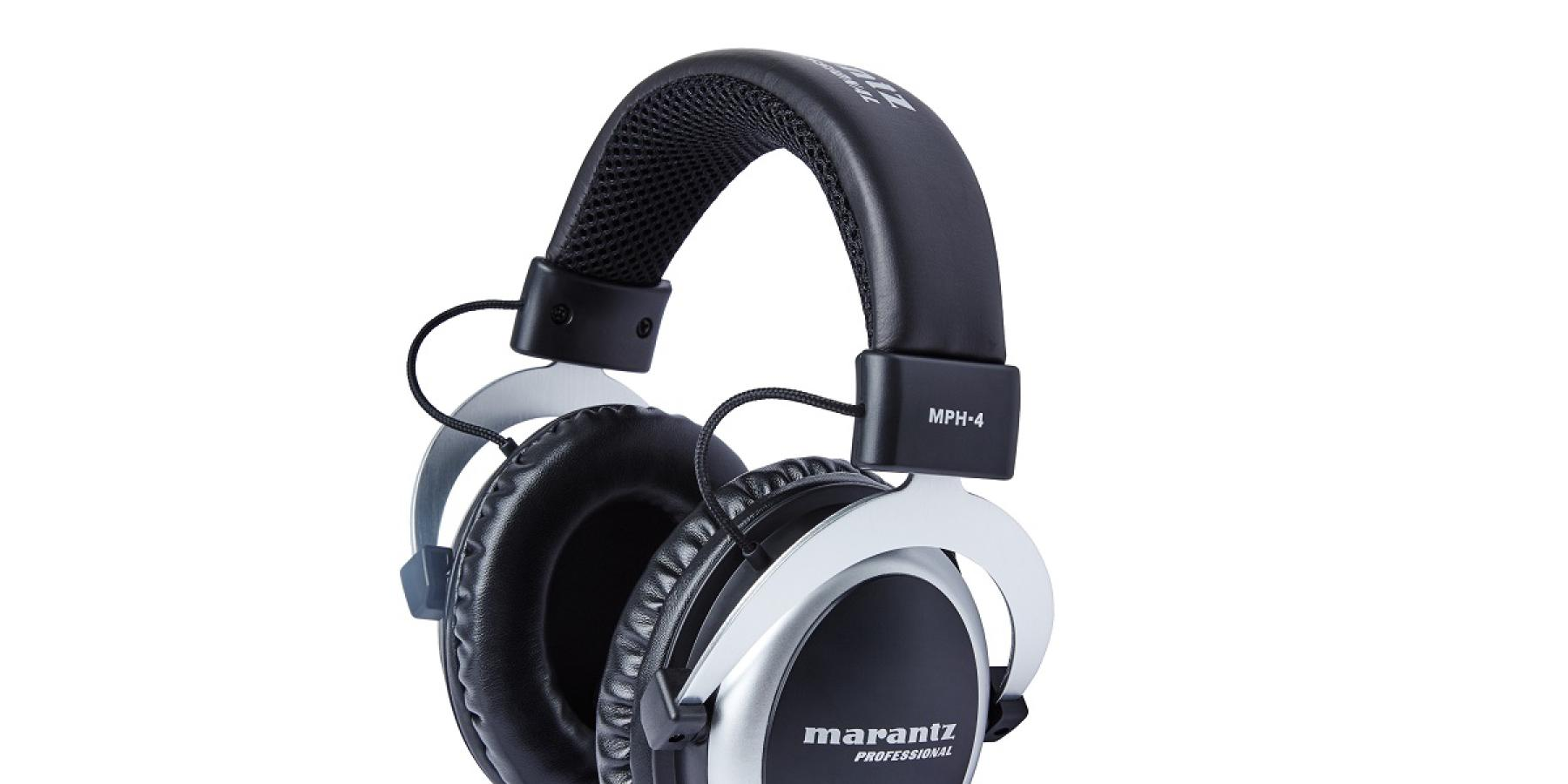 Promotional shot of the Marantz MPH-4 studio headphones, large over-the-ear style.