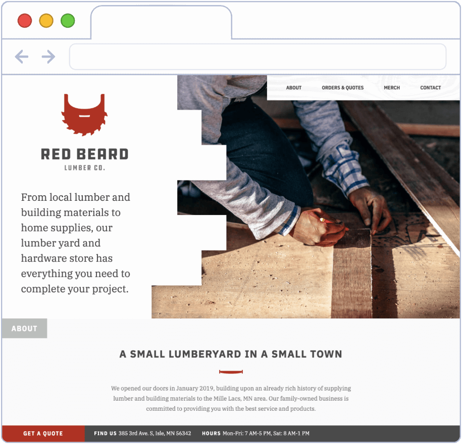 Web Design and Logo Branding for Red Beard Lumber Co.