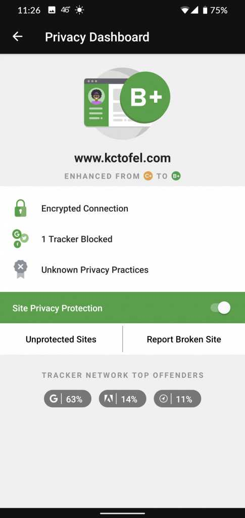DuckDuckGo Privacy Brower tracking protection