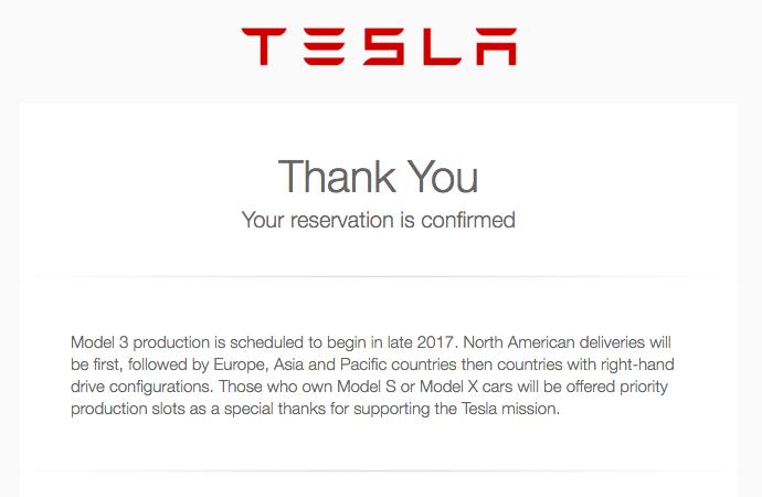 Tesla reservation confirmation