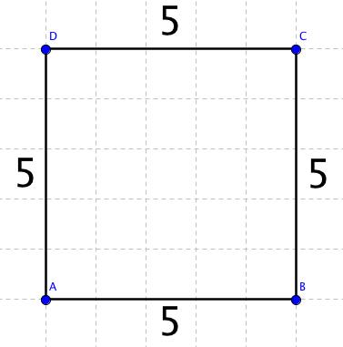 Čtverec o délce strany a = 5 a ploše S = 25