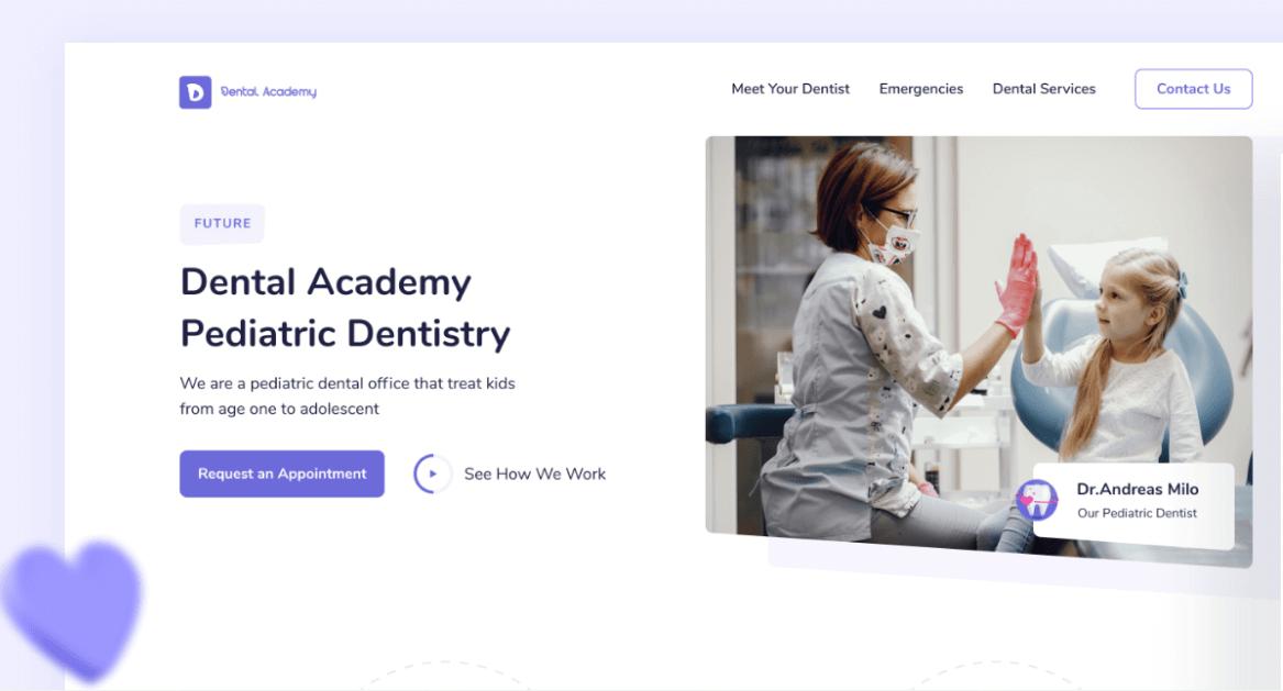 screenshot of Dental Academy website