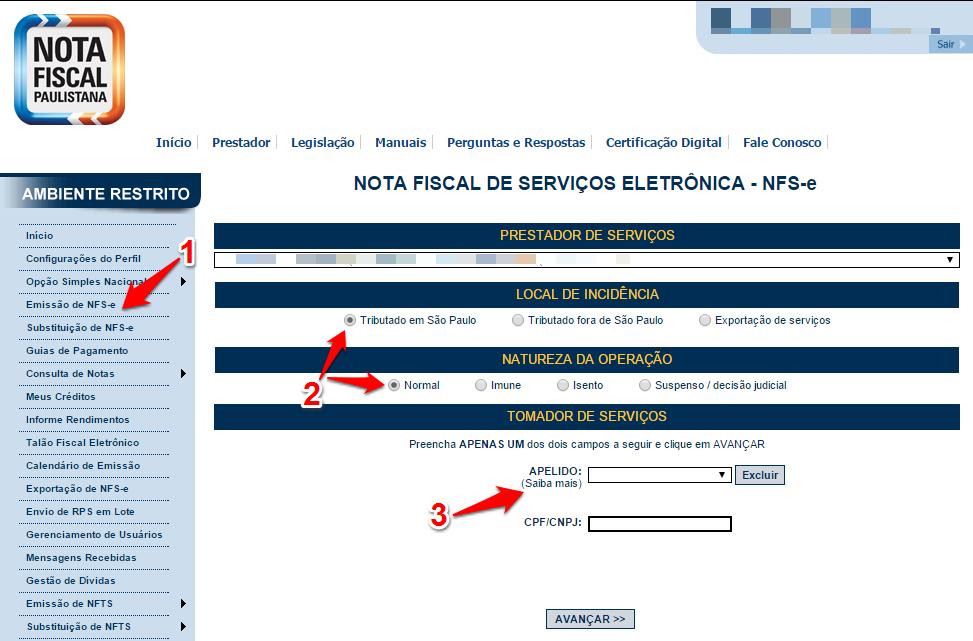 Passos 1, 2 e 3 de como emitir nota fiscal paulistana no simples nacional