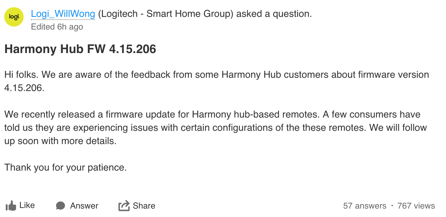 Screenshot of a forum post by a Logitech employee saying that a few customers are experiencing issues with certain configurations and that they follow up soon with more details.