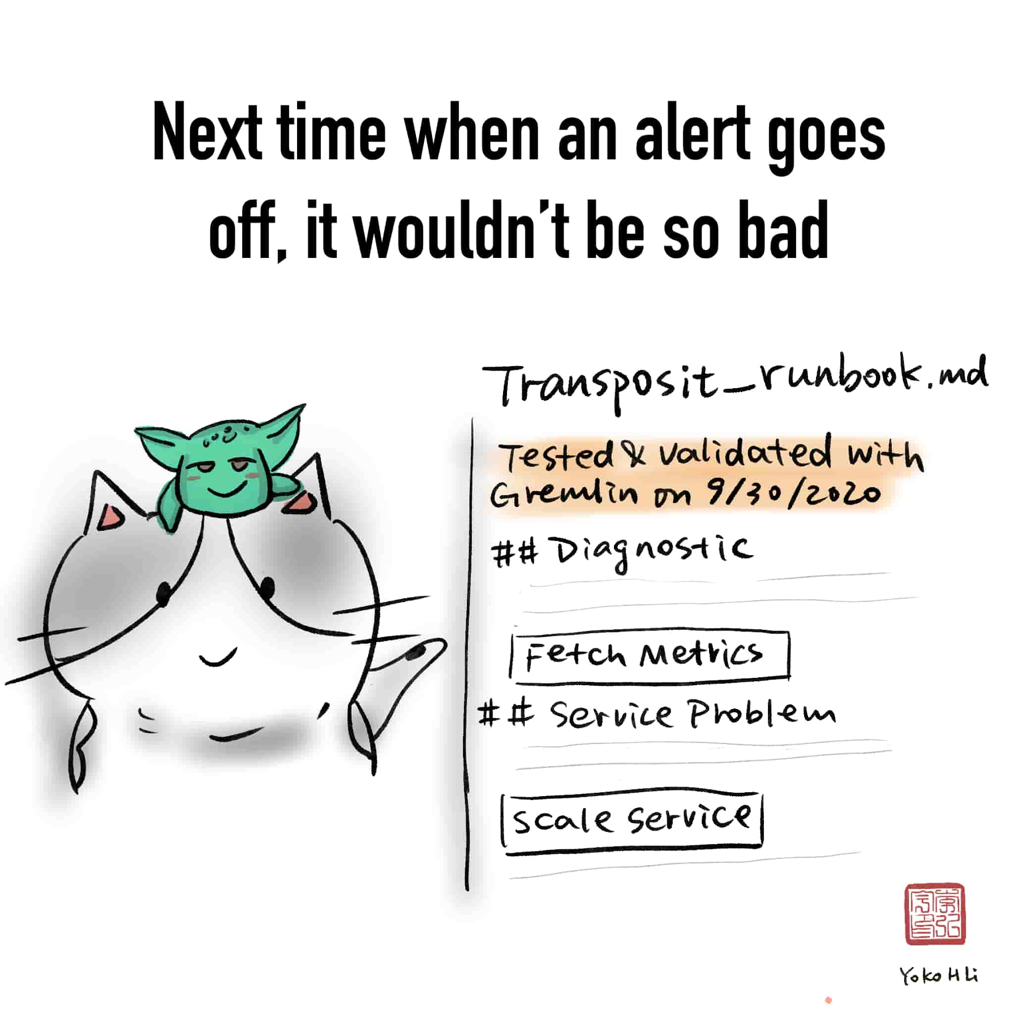 Comic: Next time when an alert goes off, it wouldn't be so bad. Image: Runbook with a validated with Gremlin date
