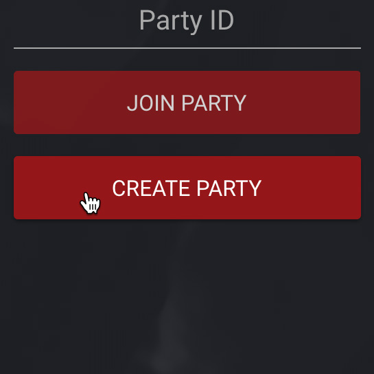 Create Party Screenshot