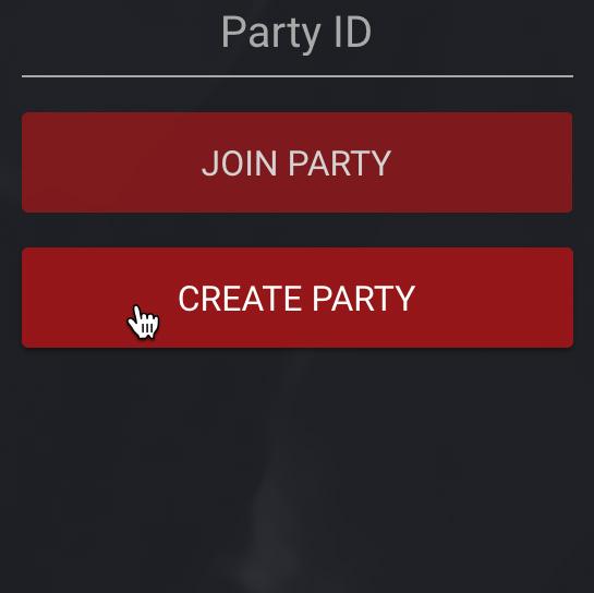 Create Party Screenshot