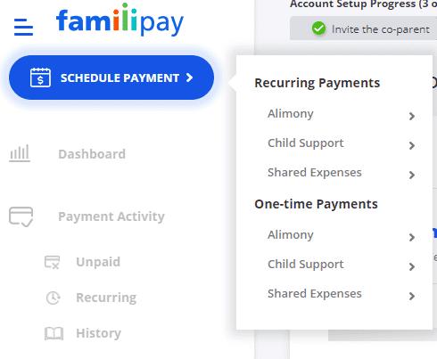schedule payment menu example