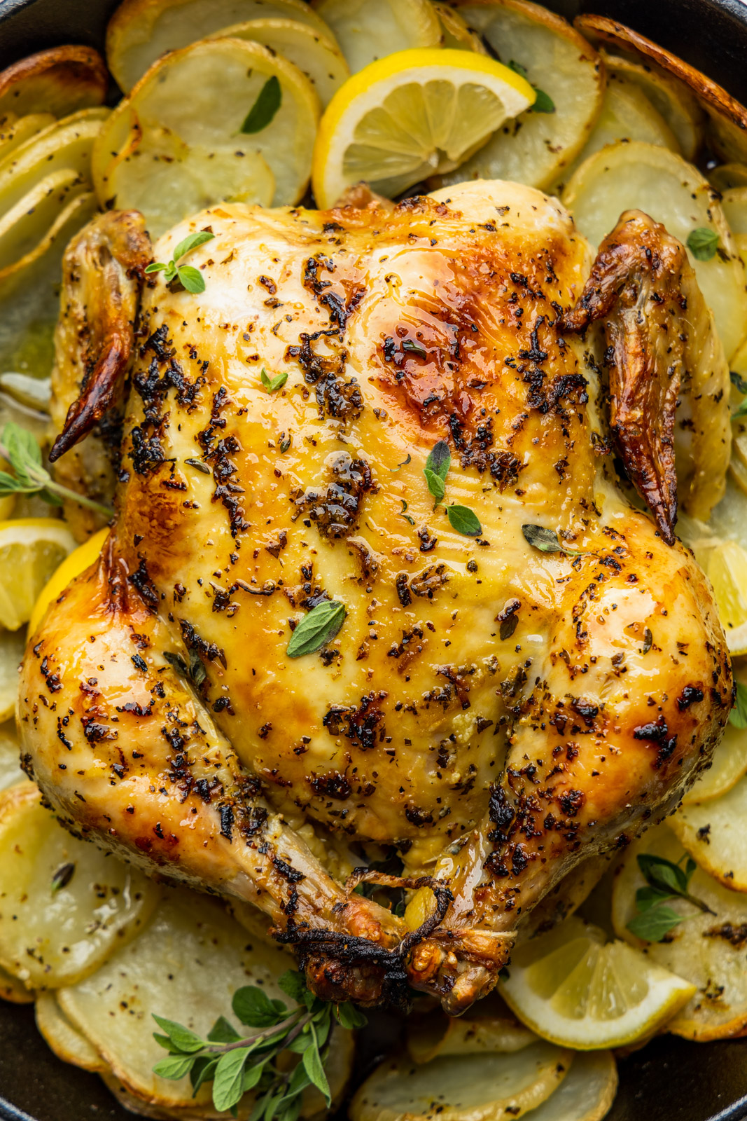 Greek Style Skillet Roast Chicken With Crispy Potatoes Olive Mango