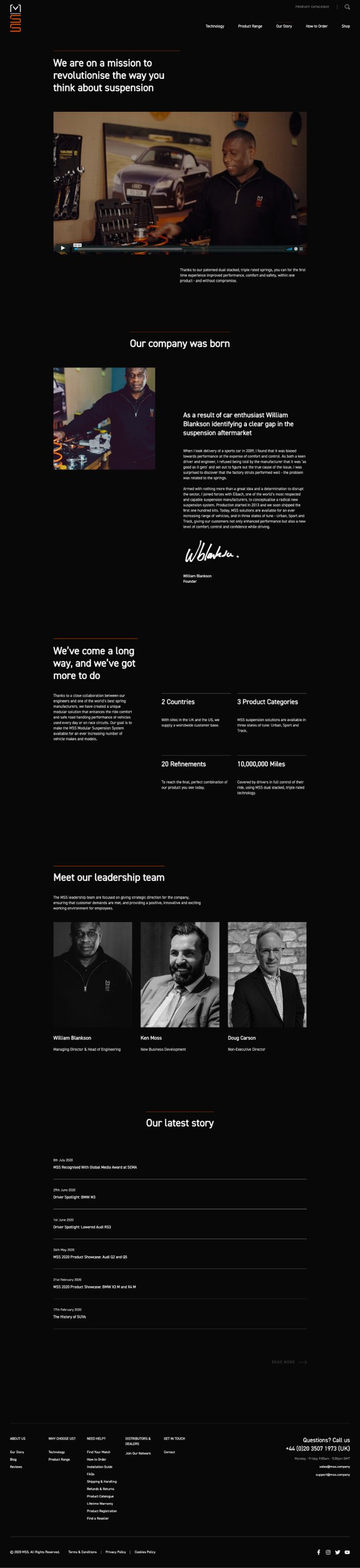 Second screenshot of MSS website
