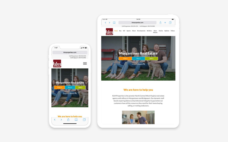 KLM properties website - mobile/tablet view