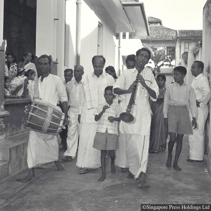 Indian wedding procession at a Hindu temple, 1962