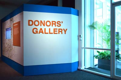 A photo of the National Library Donors' Gallery title wall.