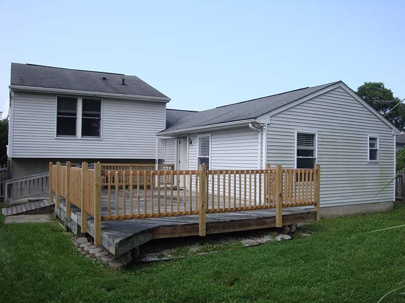 porch with newly constructed railing