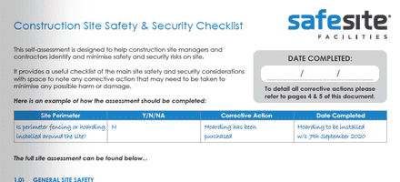 Free Construction Site Safety and Security Assessment