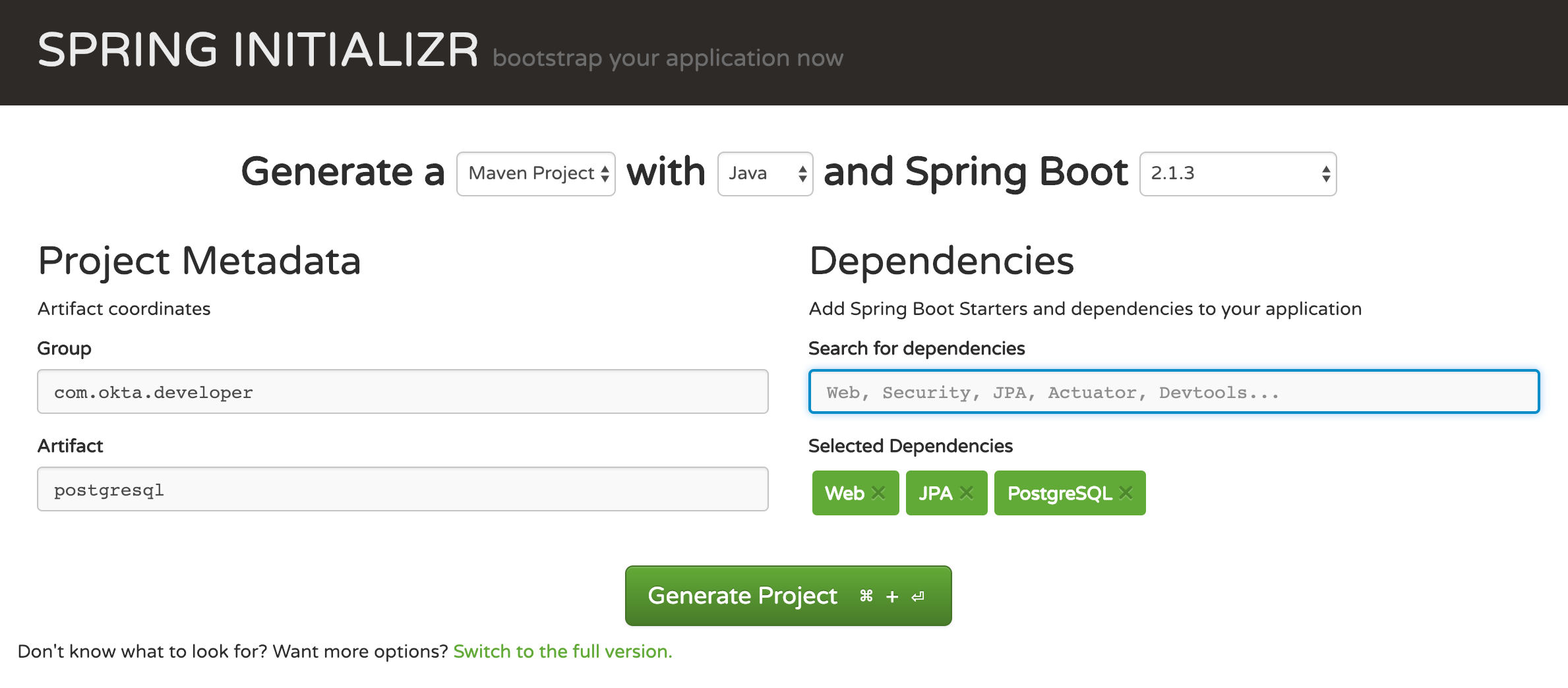 New Spring Application
