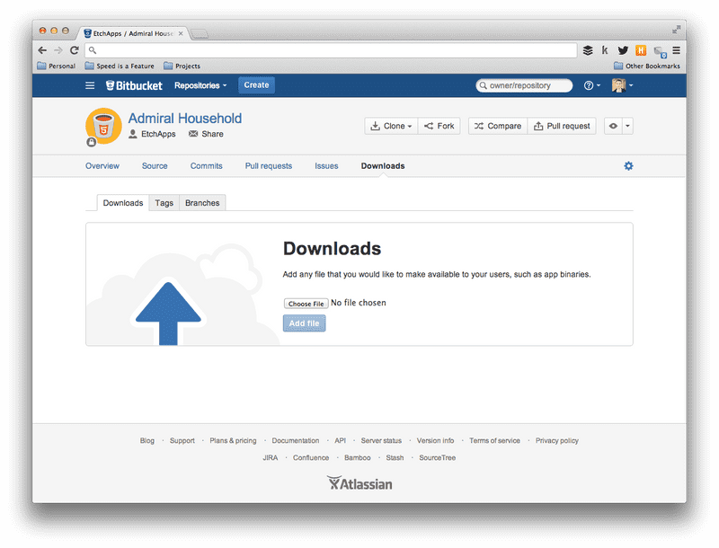Screenshot of No downloads in Bitbucket