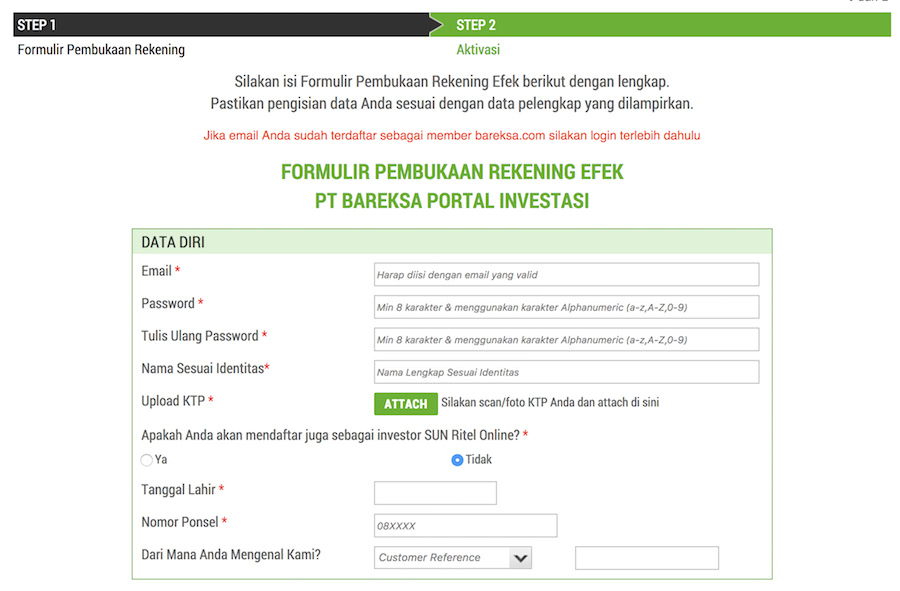 bareksa open account
