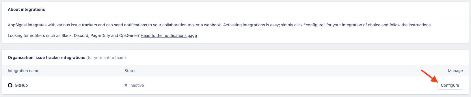 GitHub AppSignal integration