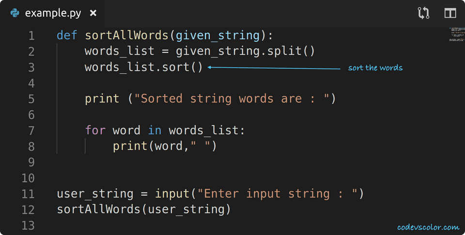 python sort words in a string