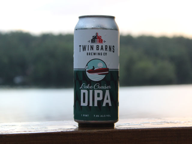 Lake Cruiser, a Double IPA brewed by Twin Barns Brewing Company