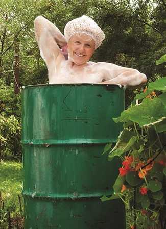 General Birthday Card Happy Lady in a barrel