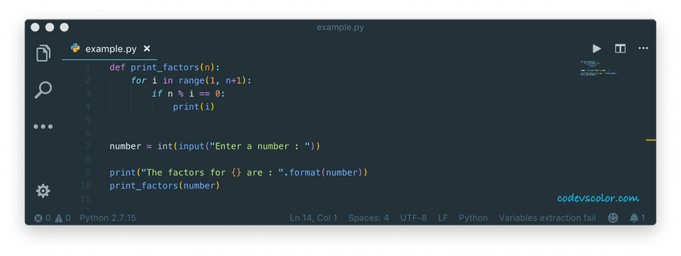 python find factors of a number using for loop