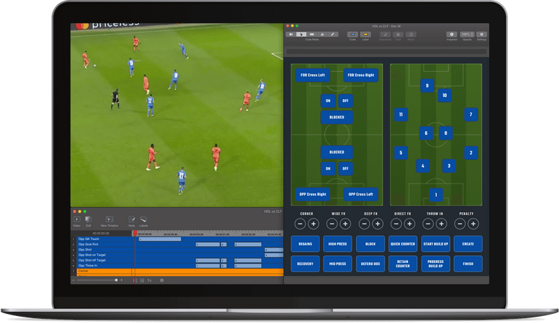 Sportscode dashboard with soccer match stats, part of Pro Suite