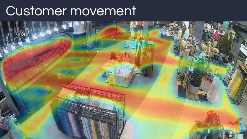 Overlaid heatmaps, separately showing staff and customer movement through the store