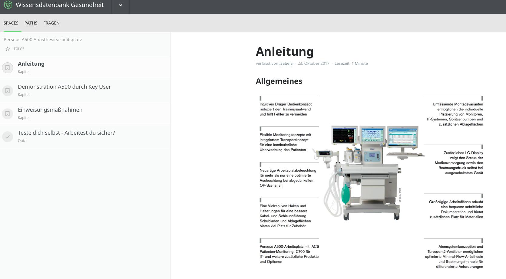 Abbild von einem Kapitel über ein Gerät der Medizintechnik