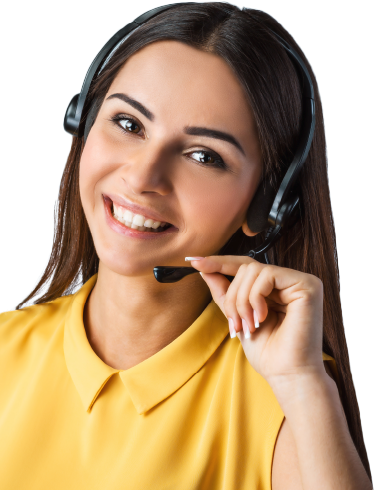 Image of woman wearing a headset.