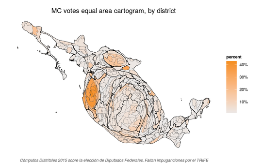 Equal area cartogram of Movimiento Ciudadano