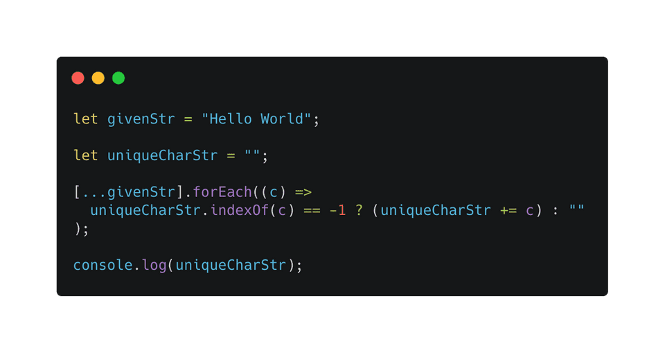 Javascript get unique character from a string