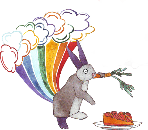 Shocked rabbit tooting a rainbow while pausing eating a carrot