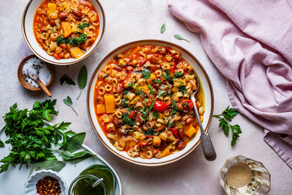 One Pot Borlotti Bean and Pasta Stew With Butternut Squash and Sage Pesto (Pasta e Fagioli)