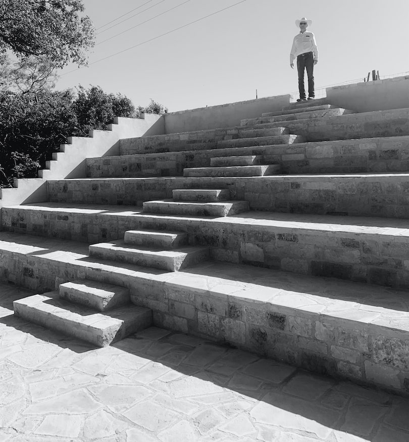 looking up the steps of the wedding venue at Chapel Falls