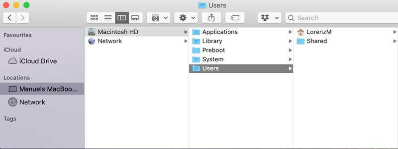 The macOS finder