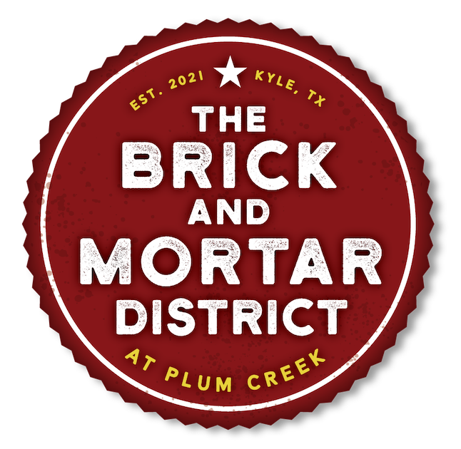 The full logo for the Brick & Mortar District at Plum Creek in Kyle, TX