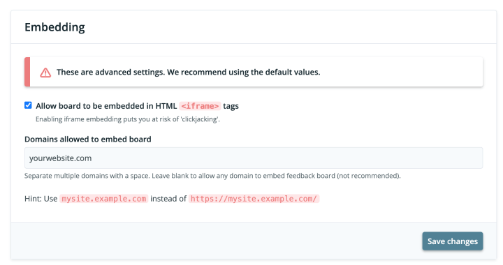 Configuring Feature Upvote to allow iframe embedding