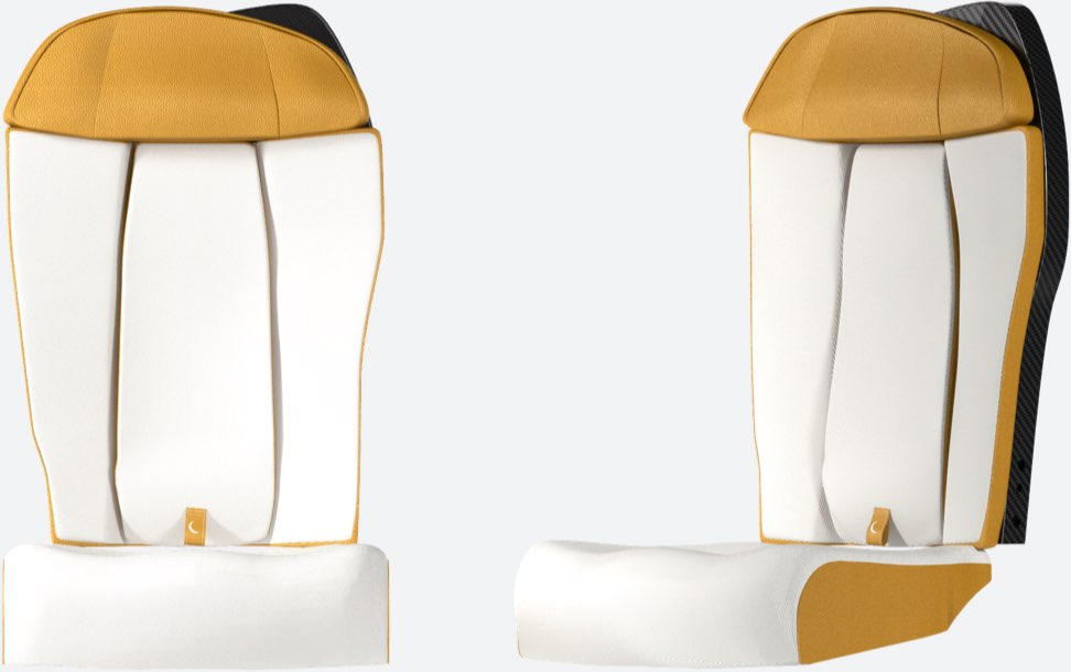 Aircraft seat seen from the front and at an angle